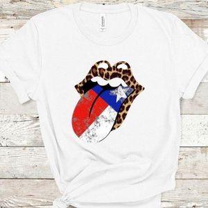 Texas Rock & Roll Lips Short Sleeve White T-Shirt